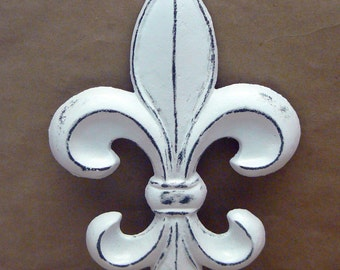 Fleur de lis FDL Cast Iron Painted Distressed Bright White Classic White Shabby Style Chic Wall Decor French Decor, Paris