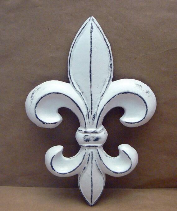 Fleur De Lis Fdl Cast Iron Painted Distressed Bright White