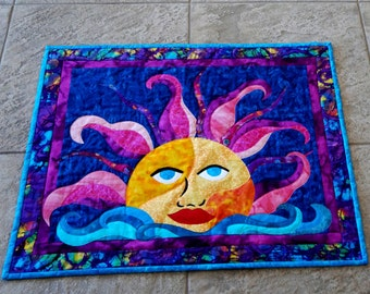 Wall Art Quilt Mystic Sun Batik Tropical Applique Purple Pink Aqua Lucky Ol Sun