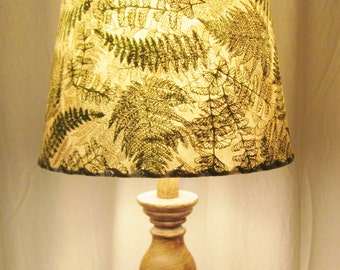 Lamp Shade, Green Ferns, Silkscreened Paper, Drum Lamp Shade, Nepalese Paper Lampshade, Lokta Paper, Washer Top Lamp Shade, Green and Gold