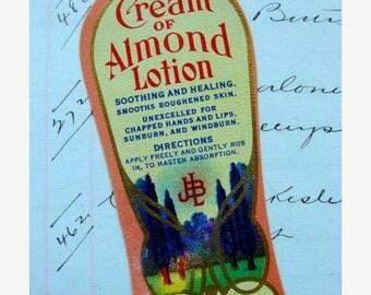 BIG SALE Gorgeous Antique Vintage Cream and Almond Lotion Label