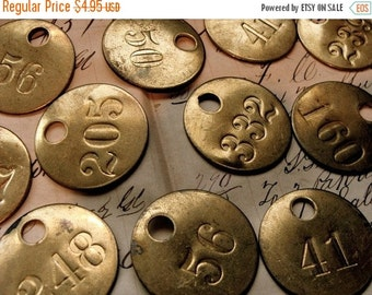20PercentOff Old Antique Brass Numbered Locker tag