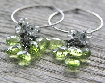 Peridot and Green Amethyst Sterling Silver Hoop Earrings
