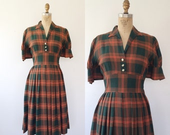 1950s dress / vintage plaid dress / Upstate dress