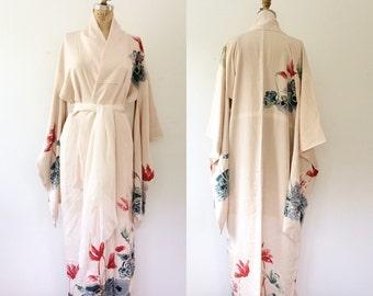 vintage kimono / kimono robe / Cyclamen Kimono