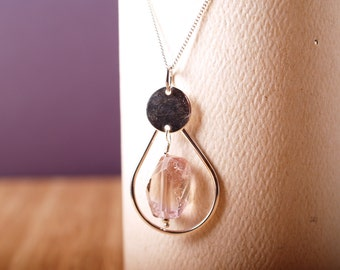 Organic cut ametrine and sterling hoop pendant with sterling chain