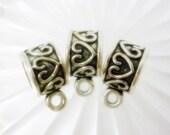 3 ornate Heart Bails,Antique Silver heart bails