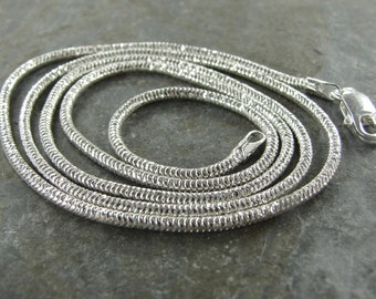 Bright Polished Sterling Silver 1.6 MM Diamond Cut Sparkle Snake Chain - 18 Inch With Clasp - One Piece - dcs18p