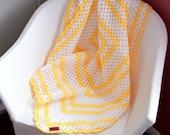 FREE SHIPPING Yellow & White Crochet Baby Blanket - Granny Square - Crochet Afghan - Lap Blanket - Pram Blanket - Sofa Throw 39 x 39