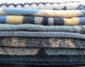 Beautiful Upcycled Wool Sweater Pieces, Sweater Wool, Blues, Patterns, Textures, Ready to Repurpose, Small Projects, Sewing, Felting