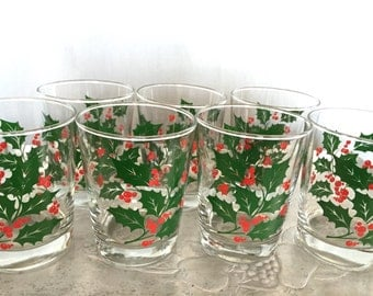 Holiday Glasses Set of 7 Vintage Glass Tumbler Cups Green Red Holly Berries Christmas XMas Party Barware Drink Serving Replacement
