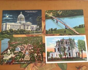 Jefferson City Vintage Souvenir Photos Lake of the Ozarks Missouri Travel USA State Capitol Govenor's Mansion River set of 4