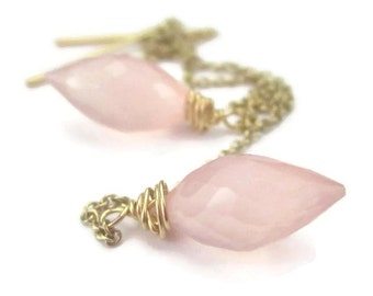 Pink Gemstone Threader Earrings on Long Gold Filled Chain Wire Wrapped Dew Drop Rose