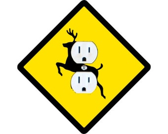 Deer Crossing Sign Duplex Outlet Plate Cover