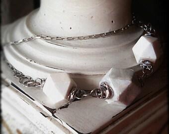 Vintage modern necklace  upcycled porcelain beads shabby white
