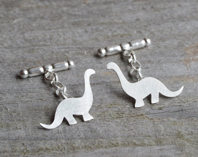 Dinosaur Cufflinks In Sterling Silver, Brontosaurus Cufflinks With Personalized Message, Handmade In UK