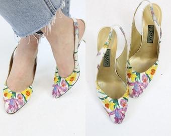 80s Gucci Slingbacks Size 6.5 / 1980s Vintage Floral Satin Shoes / The Flora Heel