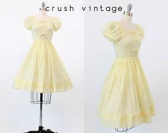 50s Dress Organza XS / 1950s Vintage Teena Paige Yellow Sheer Dress / Lemon Froth Dress