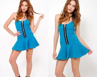 Vintage 90s Teal BETSEY JOHNSON Mini SUSPENDER Dress New Wave Dress Spandex Skater Dress Body Con Dress