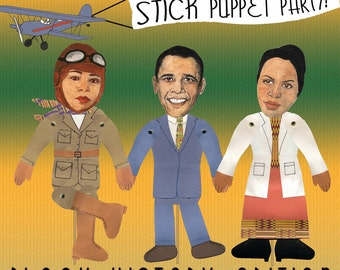 Black History Puppet Craft Kit. LARGE Stick Puppets. Paper dolls. Summer craft project. Educational Crafts.  Famous African Americans