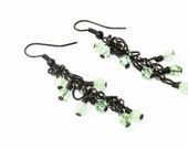 CLEARNACE Light Seafoam Green and Black Chain Cascading Wire Wrapped Beaded Earrings