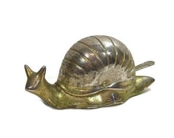 Vintage Snail Butter Dish Covered Glass Bowl Metal Knife Mollusc Condiment Jam Server Hostess Gift Animal Figure PeachyChicBoutique on Etsy