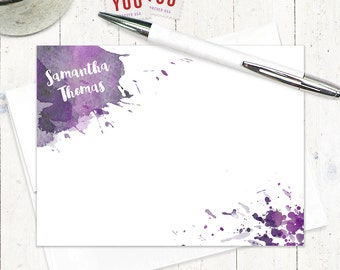 personalized note cards - WATERCOLOR SPLOTCHES - set of 12 flat notecards - stationery - stationary - artsy