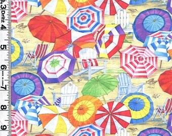Fabric Elizabeth Beach Vista Umbrellas Beach chairs ocean seashore summer fun