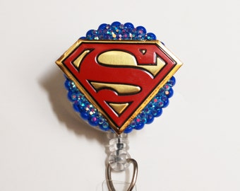 Superman Symbol ID Badge Reel - Retractable ID Badge Holder - Zipperedheart