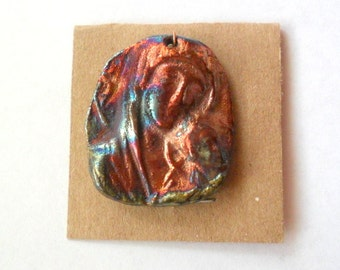 Religious Mother and Child Pendant Finding in Raku Fired Clay