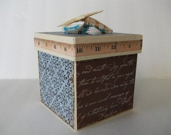 Handmade Seashells Box, Masculine Box, Hand-painted Box, Keepsake Box