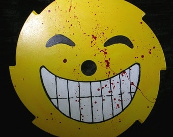 Evil Grin emoji emoticon blood splattered saw blade original art