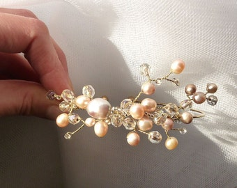 Bridal Wedding Arm Bracelet with Freshwater Pearls. Ready to ship.