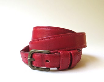 vintage Coach Narrow Red Leather Belt / made in New York City