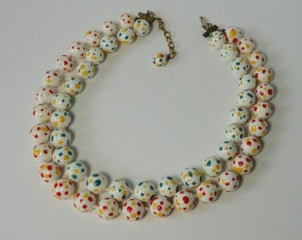 Upgrated Vintage, Two Strands, Knotted White Beaded Lucite with Yellow, Red, and Teal Speckles  Necklace.