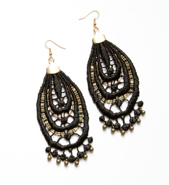 lace black and gold drop earrings