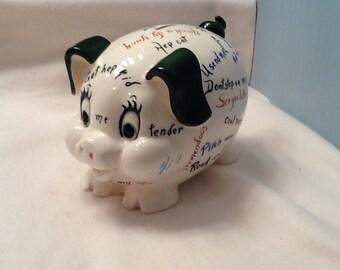 Vintage Piggy Bank Lefton Pig Coin Mid Century Retro Sayings