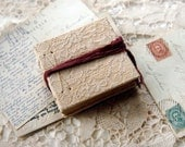 Moments - Hand Bound Miniature Book, Vintage Lace, Aged Paper, Sari Silk Tie - OOAK