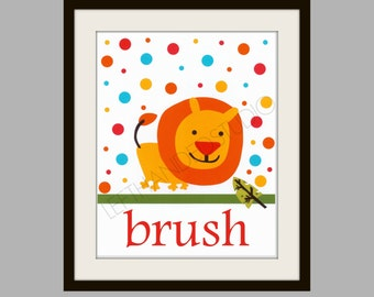 Kohl's Jumping Bean Safari Bath Art Print, Jumping Bean Safari Lion, FREE SHIPPING- Lion Art Print, Children's Art Print, 8x10, Personalized