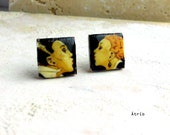 Portugal THE KISS 1930's  Ramos Pinto  Art Nouveau Original vintage poster Post Stud  Earrings by Rene Vincent 529 Gift Box Included
