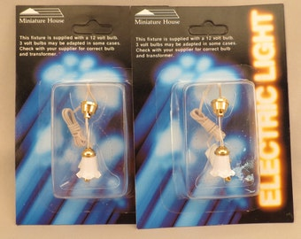 Dollhouse Miniature Lot of 2 White Tulip Ceiling Lamps