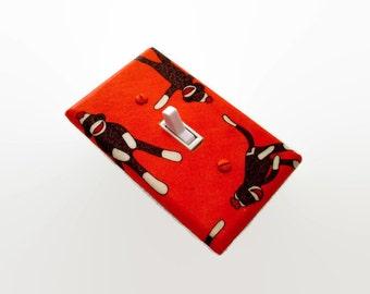 Sock Monkeys Light Switch Cover Orange - Moda Funky Monkey - Childrens Room Decor - Boys Bedroom - Sock Monkey Switchplate Cover