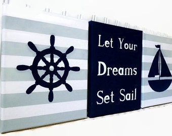 Nautical Nursery Paintings - Baby Room Canvas Painting - Ships Wheel Sailboat Wall Hanging - Hand Painted Baby Shower Gift - Nursery Decor