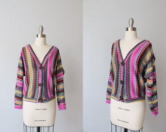Vintage 1970s Missoni Inspired V Neck Cardigan Sweater / Mission Style / Acrylic