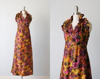 Vintage 1960s Sleeveless Halter Full Length Formal Evening Dress / Ruffled Neckline /  Empire Waist