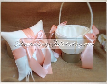 Custom Colors Flower Girl Basket and Romantic Satin Ring Bearer Pillow Combo...You Choose the Colors....shown in ivory/peach