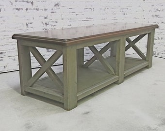 Coffee Table, Weathered Grey Cottage Style - TB801 Shabby Farmhouse Chic, French Country,  X Truss Design