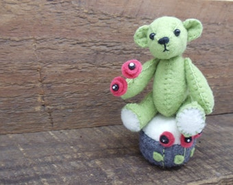Miniature Felt Teddy Bear Pincushion