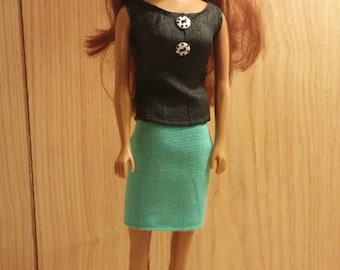 Black top and teal skirt set for Barbie with shoes