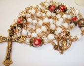Catholic rosary, Sacred Heart, Red Rose Tensha beads, bronze components